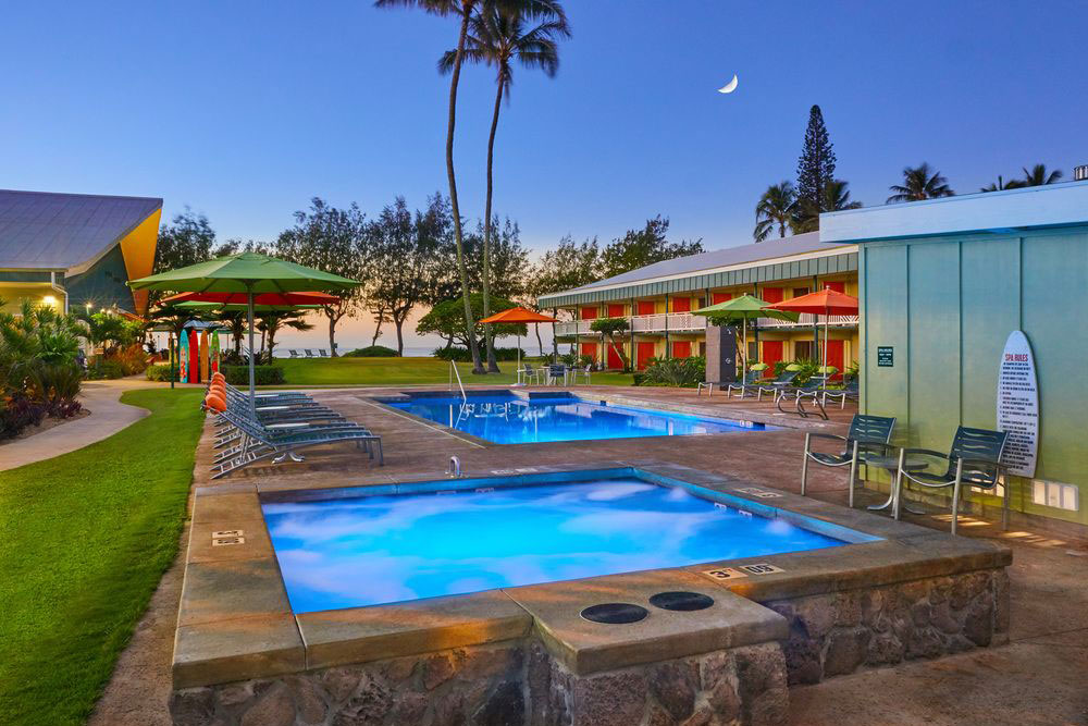 One of two outdoor pools at Kauai Shores Hotel